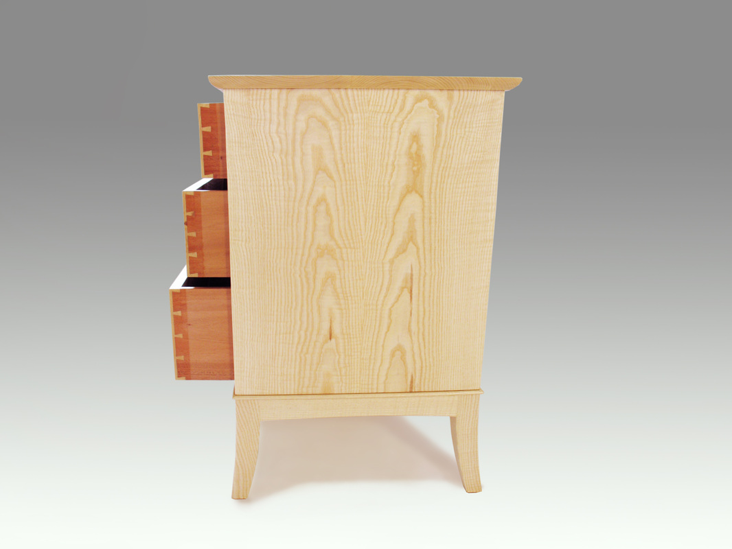 Sideview of dovetailed drawers